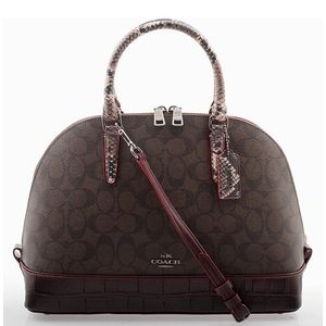Coach Signature brown Mix Sierra Satchel Purse Bag